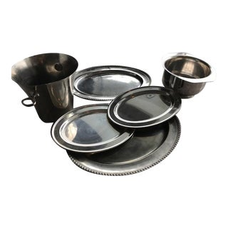 Silver & Silver Plated Vintage Serving Trays, Ice Bucket & Large Serving Bowl - Set of 6 For Sale