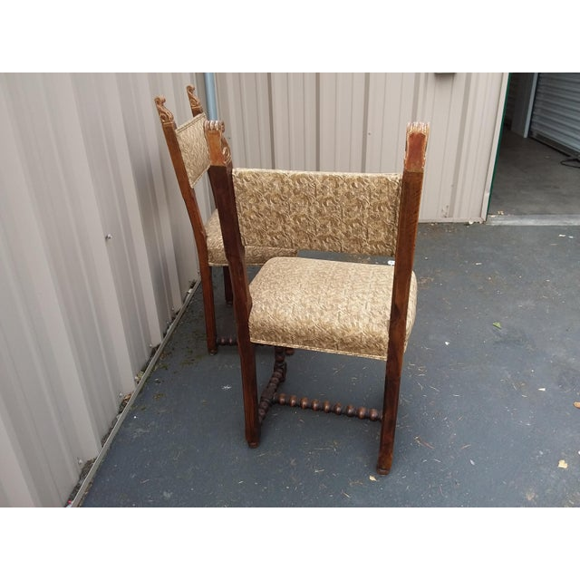 Antique Fortuny Fabric Hall Chairs - a Pair For Sale - Image 4 of 11