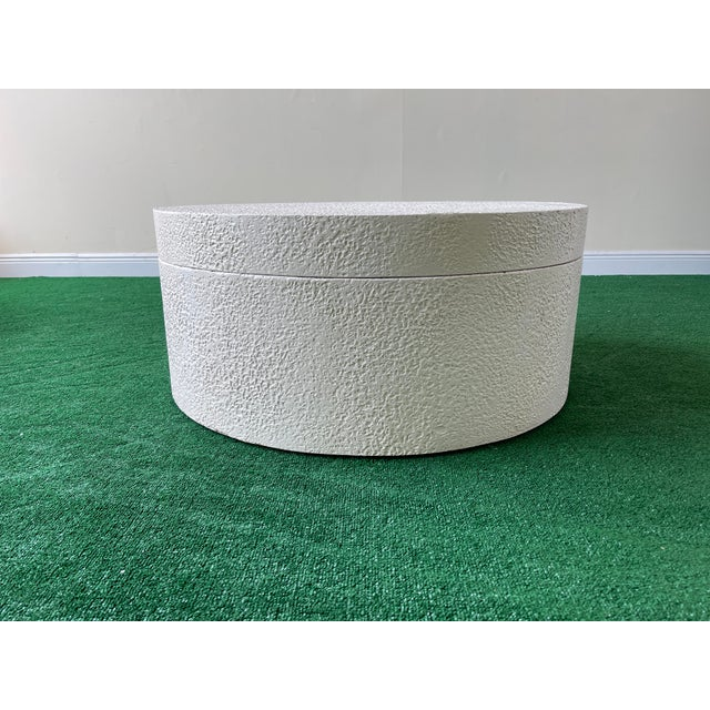 1990s 1990s White Circular Swivel Top Coffee Table For Sale - Image 5 of 7