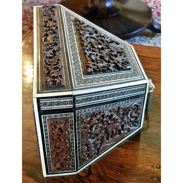 LOVELY Anglo-Indian carved Padouk wood, faux ivory and sadeli mosaic stationary box. Made in Bombay, India in the 19th...