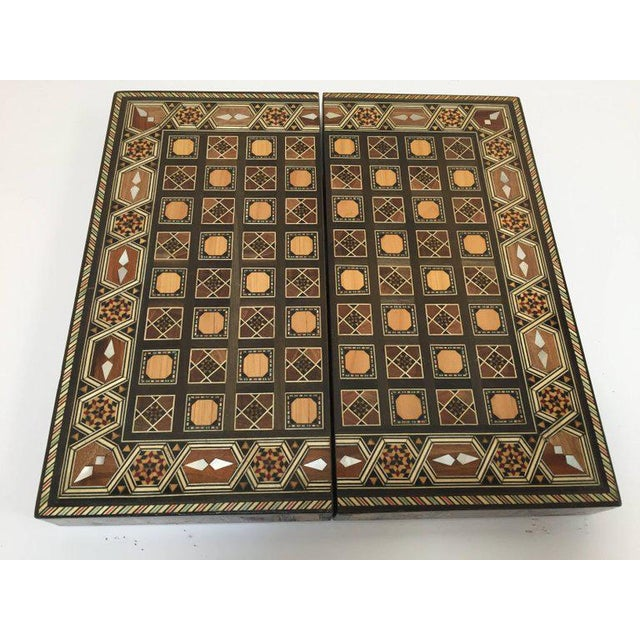 Brown Syrian Inlaid Mosaic Backgammon and Chess Game Box For Sale - Image 8 of 10