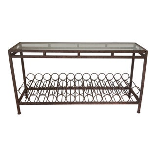 Wrought Iron Wine Rack Console Table For Sale