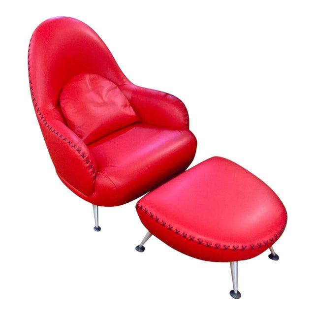 Mathias Hoffmann for De Sede Chair and Ottoman For Sale