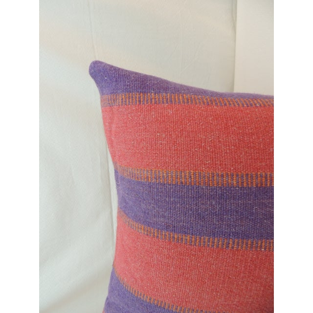 1970s Large Floor Pillow in Blue and Red Woven Stripes For Sale - Image 5 of 6