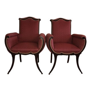 Hollywood Regency Mahogany Saber Leg Fireside Chairs - a Pair Grosfeld House