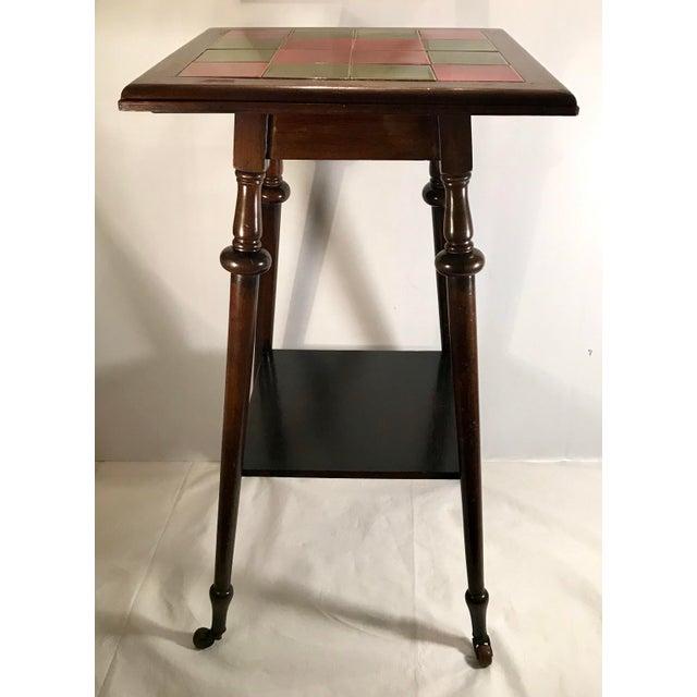 Ceramic Antique Tile Top Pub Table For Sale - Image 7 of 11