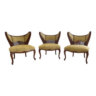 Mid-Century French Wood and Cane Butterfly Slipper Chairs - Set of 3 For Sale