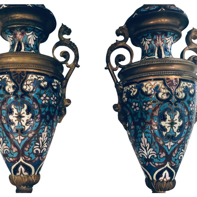 19th Century 19th Century French Champleve Vases- a Pair For Sale - Image 5 of 10
