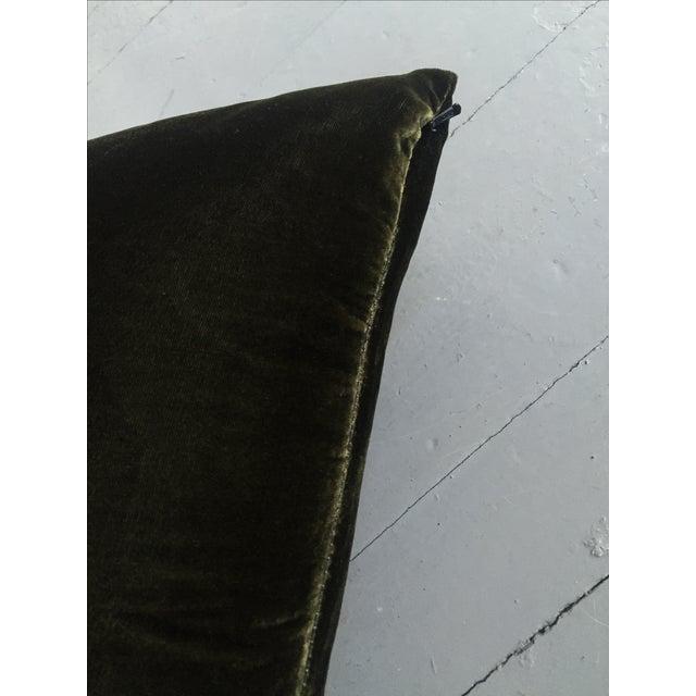 Moss Green Silk Velvet Lumbar Pillow Cover For Sale - Image 4 of 10