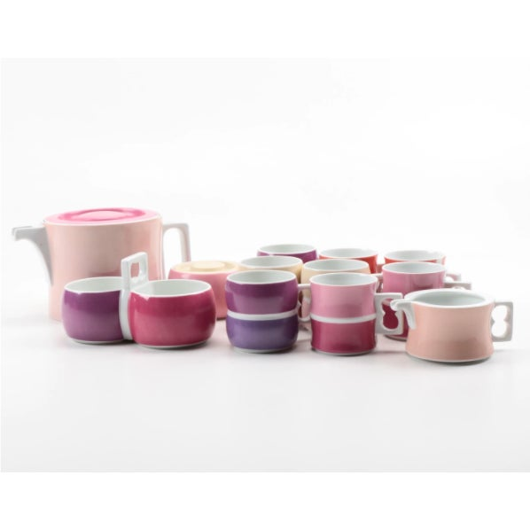 Rare, discontinued Block Chromatics Red Lavender tea service includes (1) teapot, (1) creamer, (1) lidded sugar bowl, (8)...