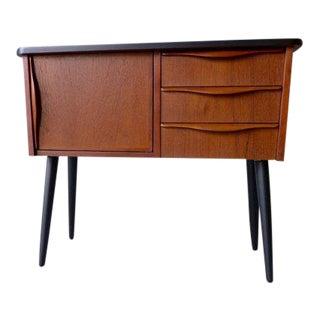 Mid Century Modern Teak Ebonized Cabinet / Nightstand For Sale