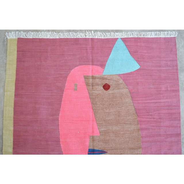 Paul Klee - Clown - Inspired Silk Hand Woven Area - Wall Rug 4′4″ × 5′10″ For Sale In Raleigh - Image 6 of 11