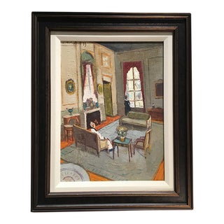 Oil Painting of Room Interior For Sale