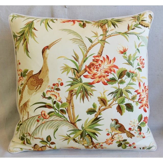 Large custom-tailored pillow in unused chinoiserie printed fabric depicting a beautiful and colorful floral design with...