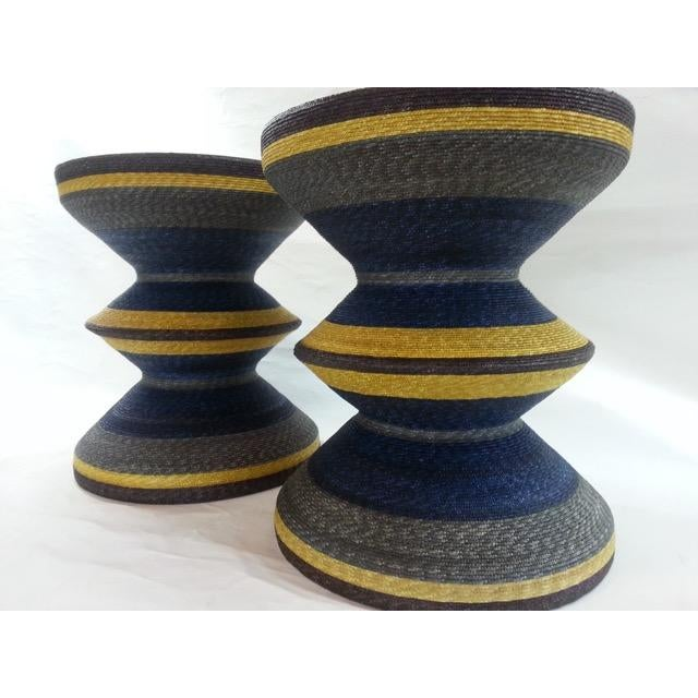 A pair of beautiful hand woven tables by Aleman Moore. Two Maya 24 tables are available, at $1,200 each/$2,400 for the...