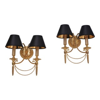 1960s Sciolari Italian Neoclassical Gilt Brass Wall Lights - a Pair For Sale