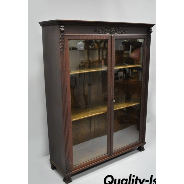 Victorian Oak Glass Two Door Bookcase With Claw Feet Lion For Sale - Image 13 of 13