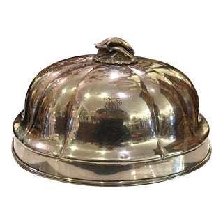 Unusual Antique Elkington Silver Food Dome w Fish Finial