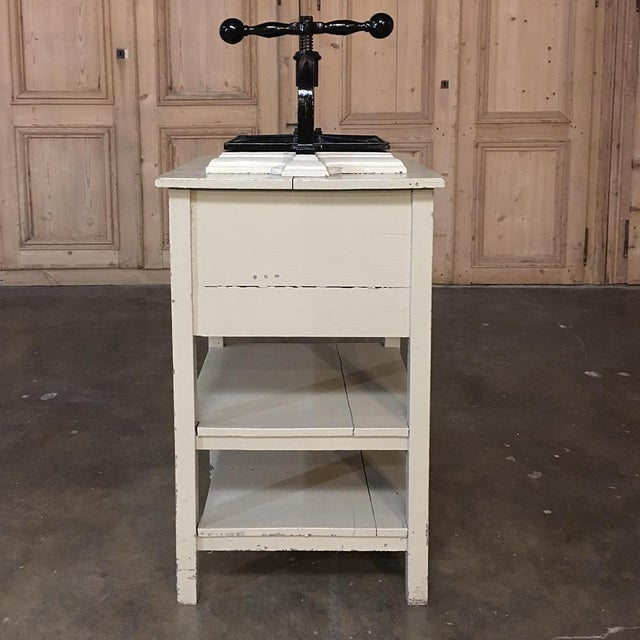 19th Century Cast Iron Paper Press on Painted Stand For Sale - Image 10 of 11