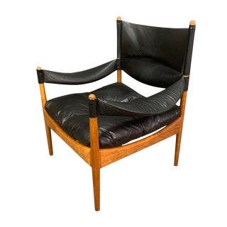 """Mid Century Modern Danish """"Modus"""" Lounge Chair in Oak & Leather by Kristian Vedel For Sale"""