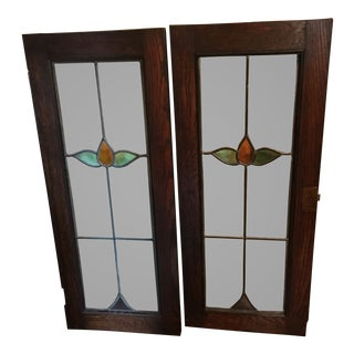 Wood & Stained Glass Doors - A Pair