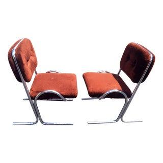 Mid-Century Tubular Unique Dining Chairs- Pair