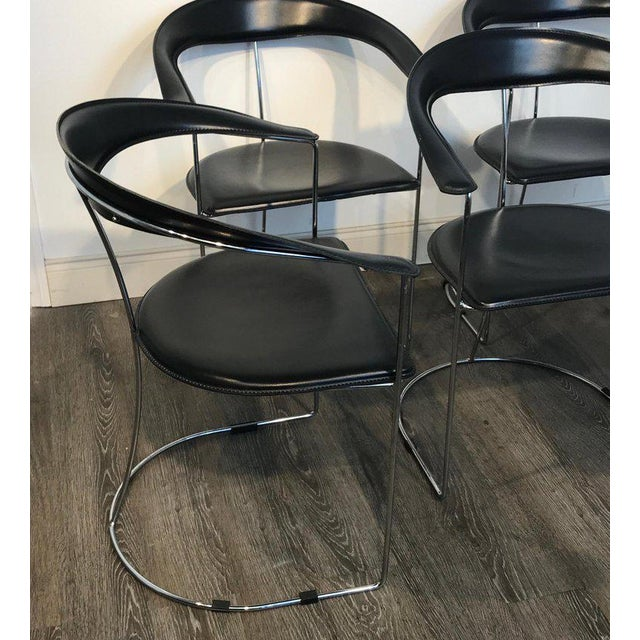 Black Five Italian Chrome and Black Leather Cantilever Armchairs, Handmade by Frag For Sale - Image 8 of 13