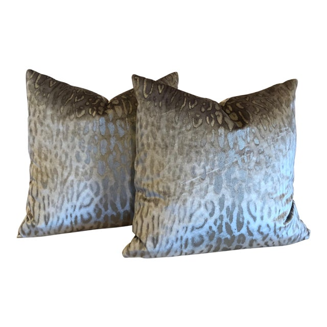 Holly Hunt on the Prowl Meli Metallic Leopard Print Pillows - a Pair For Sale