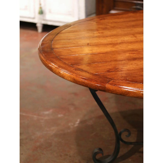 2000 - 2009 Vintage Walnut Round Dining Room Table on Four-Leg Wrought Iron Base For Sale - Image 5 of 9