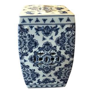 Blue & White Garden Stool For Sale