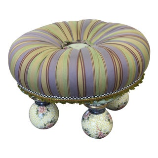 MacKenzie Childs Stool With Hand Painted Porcelain Feet For Sale