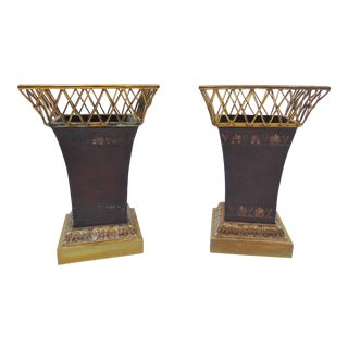 Maitland Smith Regency Brass & Leather Vases-a Pair For Sale