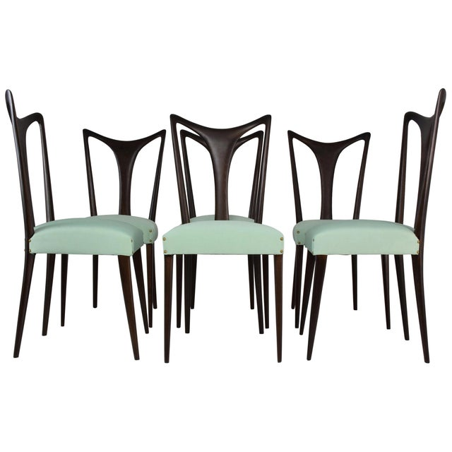 Italian Vintage Dining Chairs Attributed to Guglielmo Ulrich, Set of Six, 1940s For Sale - Image 13 of 13