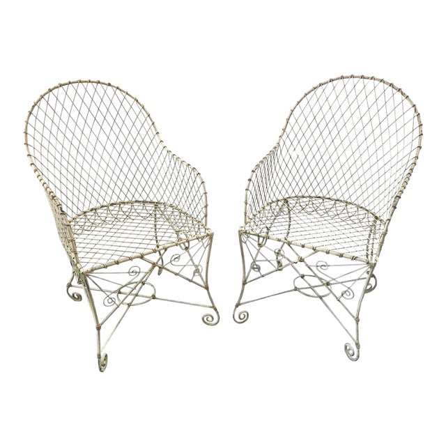 French Painted Wire Tub Back Chairs - a Pair - Image 1 of 10