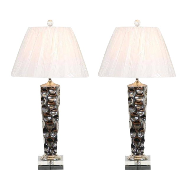 Pair of Modern Ceramic Tornado Lamps with Nickel and Lucite Accents For Sale