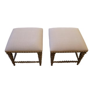 Contemporary Mahogany Ottomans - A Pair For Sale