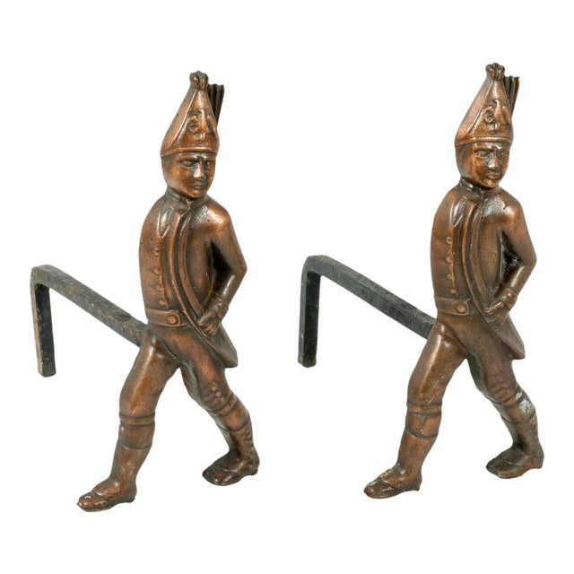 Pair of Hessian Soldier Figural Andirons For Sale