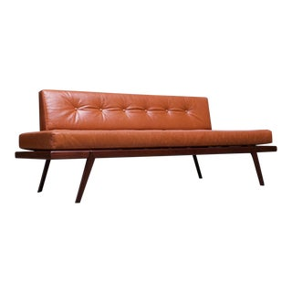 Midcentury Walnut and Leather Daybed / Settee by Mel Smilow For Sale