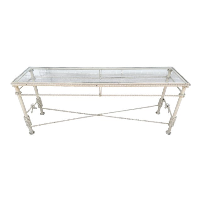 Iron Console With Metal Rope Trim and a Glass Top, Vintage For Sale
