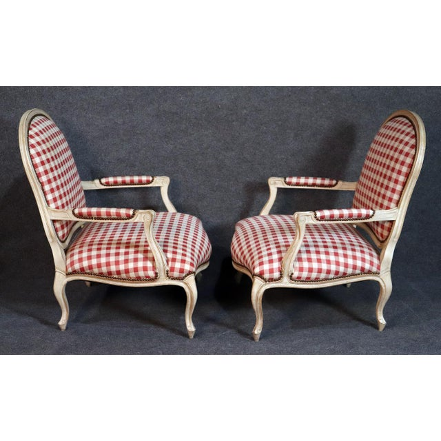 Oversized Antique Distressed Painted Louis XV Style Bergere Chairs - a Pair For Sale - Image 4 of 11