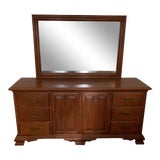 Image of Vintage Conant Ball Rock Maple Long Dresser With Mirror For Sale