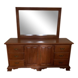 Vintage Conant Ball Rock Maple Long Dresser With Mirror For Sale