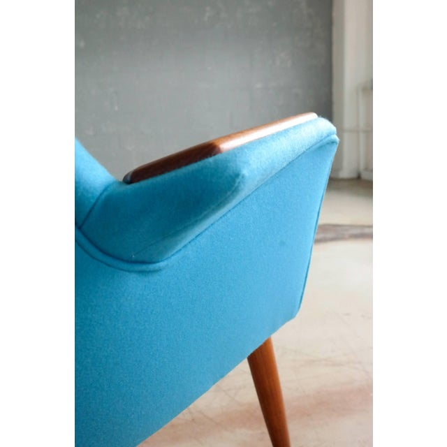 Frode Holm Frode Holm Attributed 1950s Lounge Chair With Teak Armrests Upholstered in Kvadrat Divino Wool For Sale - Image 4 of 10