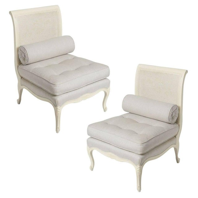 1940s Louis XV Style Painted White Slipper Chairs - a Pair For Sale - Image 13 of 13