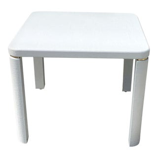 1970s White Lacquered Grasscloth Games/Parsons Table For Sale