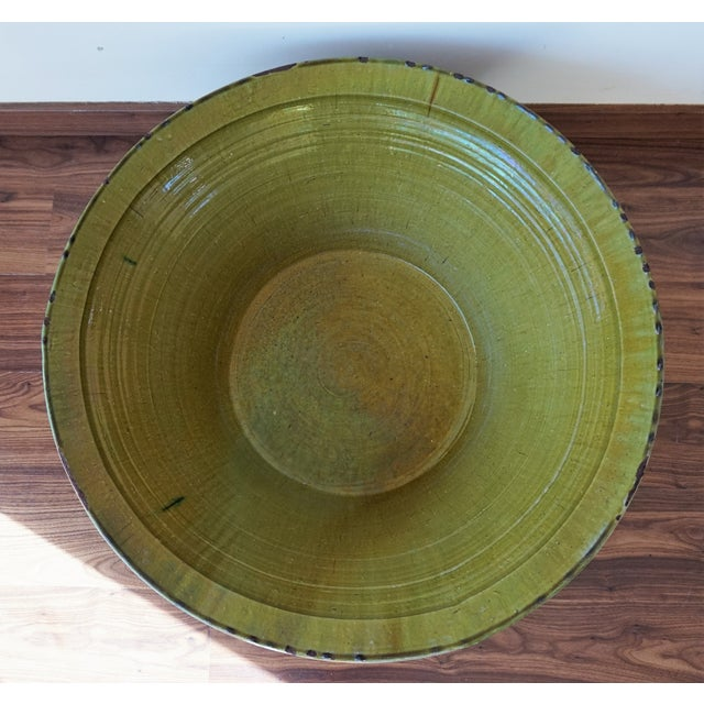 19th Century Spanish Hand Thrown and Glazed Green Stoneware Pottery Bowl For Sale In Miami - Image 6 of 8