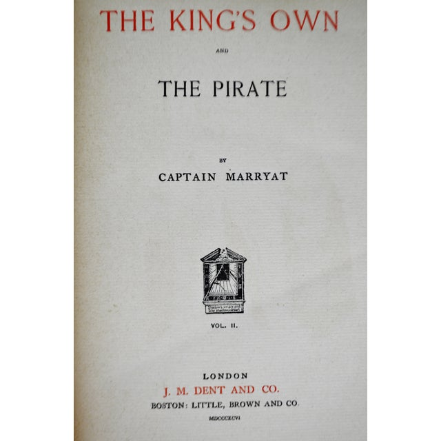 Brown 1896 Captain Frederick Marryat the Phantom Ship & the King's Own Hand-Made Paper Illustrated Books - 3 Volumes For Sale - Image 8 of 13
