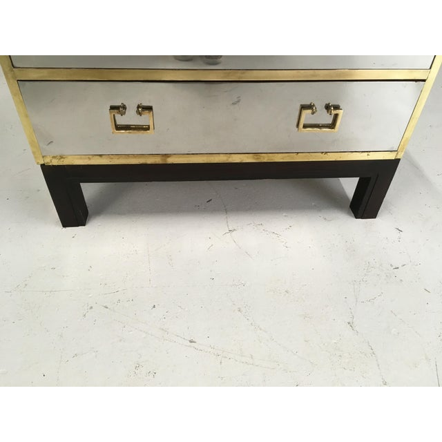 Aluminum Sarreid Gold and Silver Chest on Ebony Base For Sale - Image 7 of 8