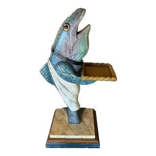 1990s Fish Waiter Statue For Sale