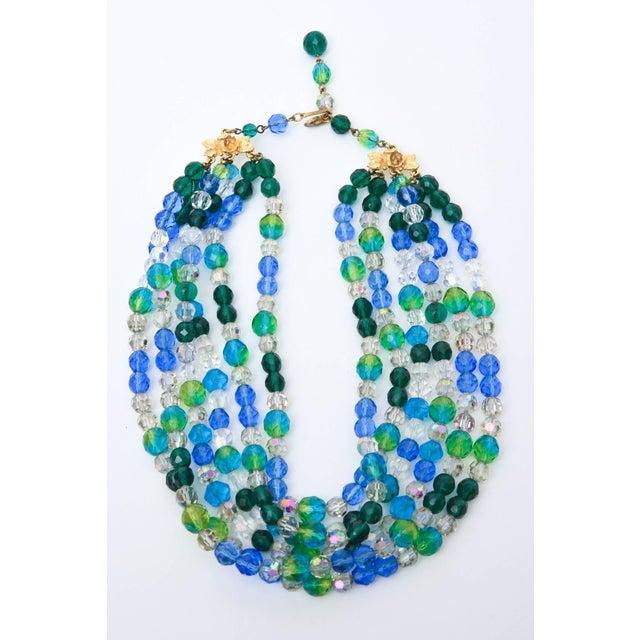 Modern Elsa Schiaparelli Glass Strand Necklace & Clip on Earrings Set of Vintage For Sale - Image 3 of 11